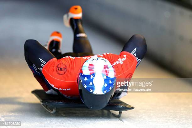Kyle Brown of USA competes during the Viessmann FIBT Skeleton World Cup at Deutche Post Eisarena on January 17 2015 in Koenigssee Germany