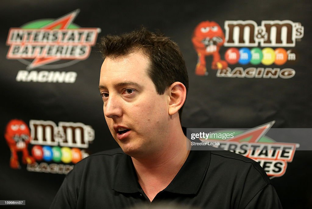 <a gi-track='captionPersonalityLinkClicked' href=/galleries/search?phrase=Kyle+Busch&family=editorial&specificpeople=211123 ng-click='$event.stopPropagation()'>Kyle Busch</a>, driver for Joe Gibbs Racing, speaks to the media during the 2013 NASCAR Sprint Media Tour on January 24, 2013 in Concord, North Carolina.