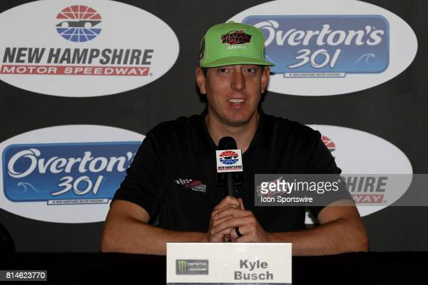 Kyle Busch driver of the Interstate Batteries Toyota during a press conference before the Monster Energy Cup Series Overton 301 race on July 2017 at...