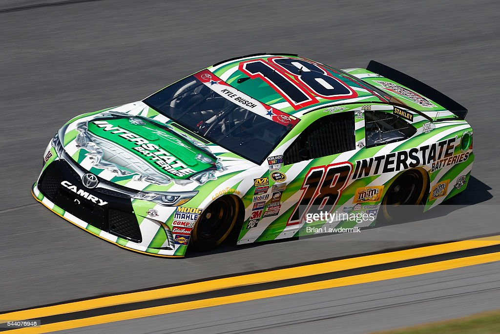 Kyle Busch, driver of the #18 Interstate Batteries Toyota, practices for the NASCAR Sprint Cup Series Coke Zero 400 at Daytona International Speedway on July 1, 2016 in Daytona Beach, Florida.