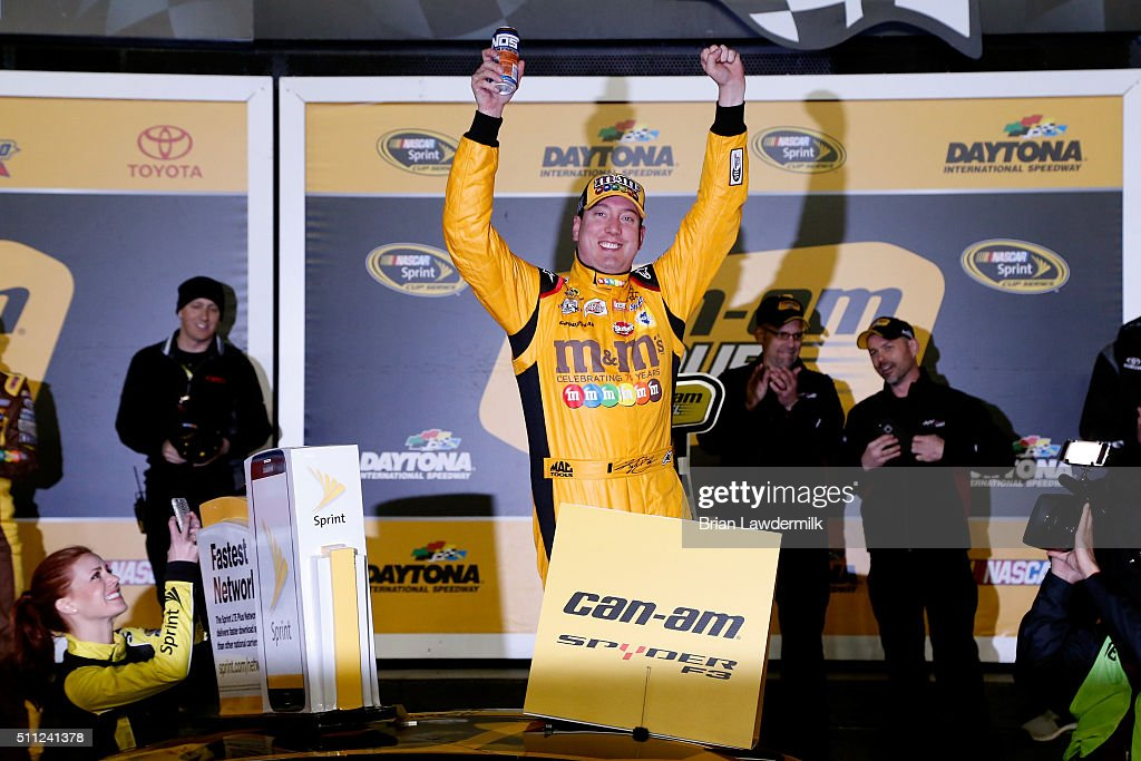 Kyle Busch, driver of the #18 M&M's 75 Toyota, celebrates in Victory Lane after winning the NASCAR Sprint Cup Series Can-Am Duels at Daytona International Speedway on February 18, 2016 in Daytona Beach, Florida.