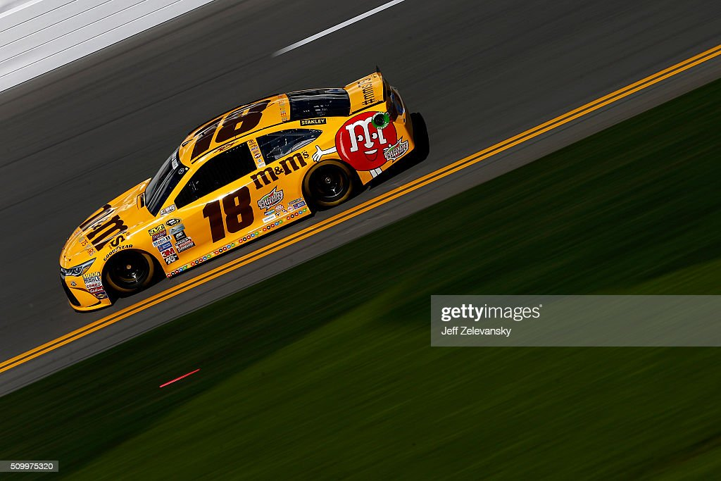 <a gi-track='captionPersonalityLinkClicked' href=/galleries/search?phrase=Kyle+Busch&family=editorial&specificpeople=211123 ng-click='$event.stopPropagation()'>Kyle Busch</a>, driver of the #18 M&M's 75 Toyota, practices for the NASCAR Sprint Cup Series Daytona 500 at Daytona International Speedway on February 13, 2016 in Daytona Beach, Florida.