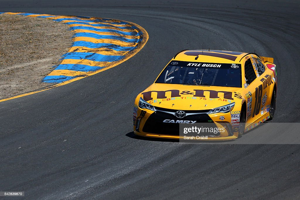 <a gi-track='captionPersonalityLinkClicked' href=/galleries/search?phrase=Kyle+Busch&family=editorial&specificpeople=211123 ng-click='$event.stopPropagation()'>Kyle Busch</a>, driver of the #18 M&M's 75th Anniversary Toyota, practices for the NASCAR Sprint Cup Series Toyota/Save Mart 350 at Sonoma Raceway on June 24, 2016 in Sonoma, California.