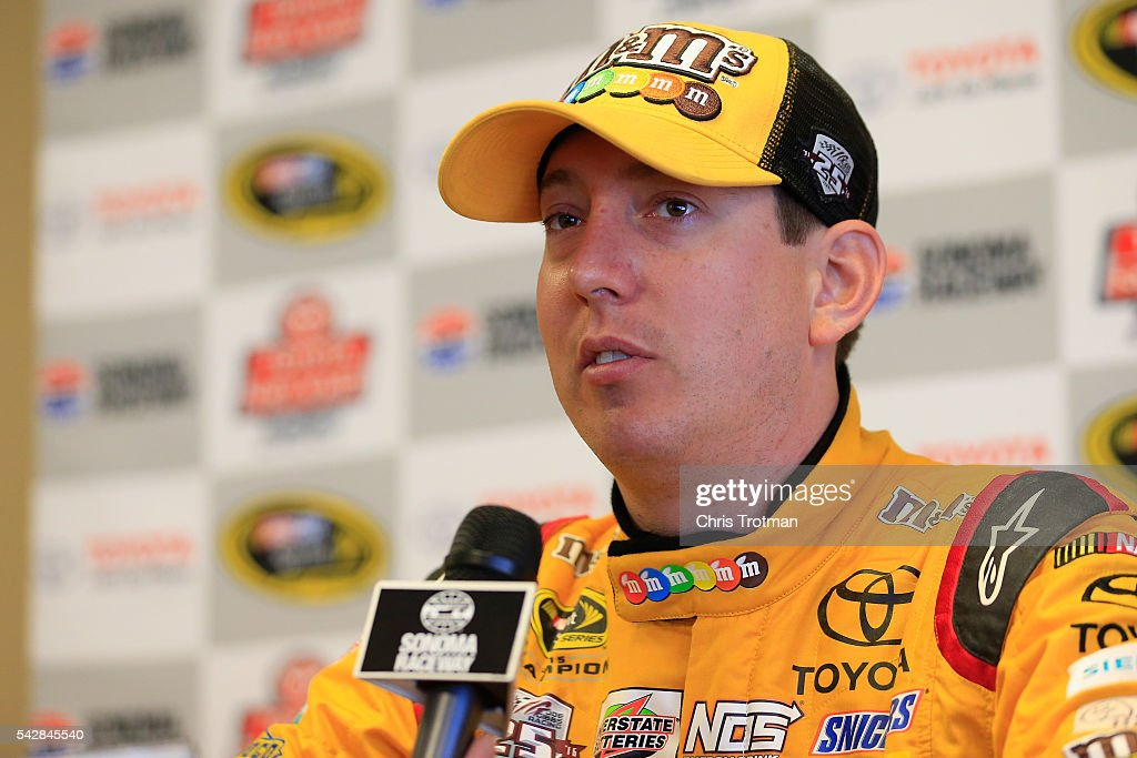 <a gi-track='captionPersonalityLinkClicked' href=/galleries/search?phrase=Kyle+Busch&family=editorial&specificpeople=211123 ng-click='$event.stopPropagation()'>Kyle Busch</a>, driver of the #18 M&M's 75th Anniversary Toyota, speaks at a press conference prior to practice for the NASCAR Sprint Cup Series Toyota/Save Mart 350 at Sonoma Raceway on June 24, 2016 in Sonoma, California.