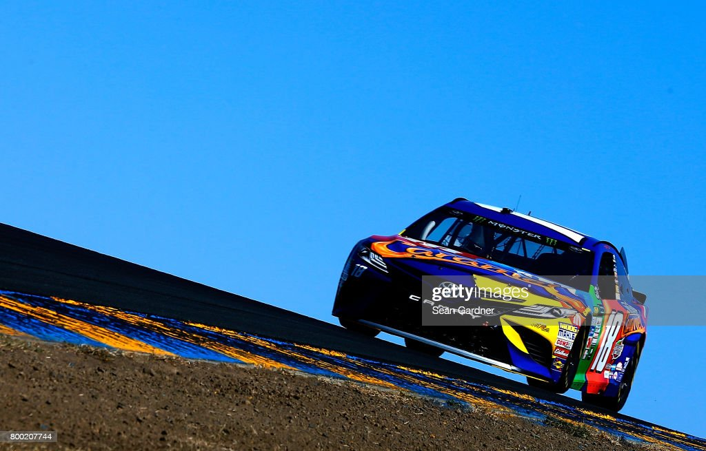 Kyle Busch, driver of the #18 M&M's Caramel Toyota, drives during practice for the Monster Energy NASCAR Cup Series Toyota/Save Mart 350 at Sonoma Raceway on June 23, 2017 in Sonoma, California.