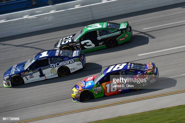 Kyle Busch driver of the MM's Caramel Toyota drives during the Monster Energy NASCAR Cup Series Alabama 500 at Talladega Superspeedway on October 15...