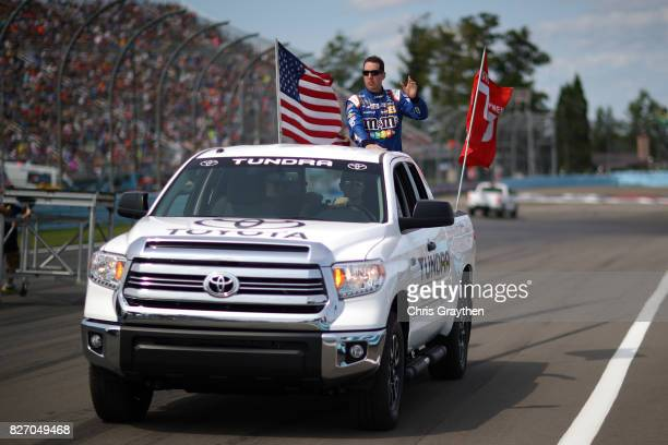 Kyle Busch driver of the MM's Caramel Toyota is introduced prior to the Monster Energy NASCAR Cup Series I Love NY 355 at The Glen at Watkins Glen...
