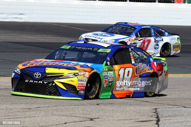 Kyle Busch driver of the MM's Carmel Toyota during practice for the Monster Energy NASCAR Cup Series race on September 23 at New Hampshire Motor...