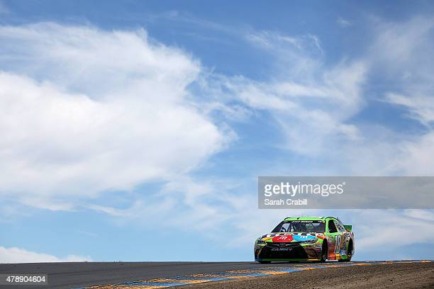 Kyle Busch driver of the MM's Crispy Toyota drives during the NASCAR Sprint Cup Series Toyota/Save Mart 350 at Sonoma Raceway on June 28 2015 in...
