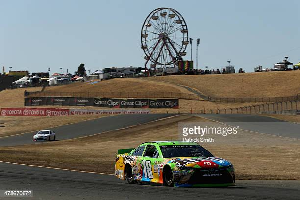 Kyle Busch driver of the MM's Crispy Toyota practices for the NASCAR Sprint Cup Series Toyota/Save Mart 350 at Sonoma Raceway on June 26 2015 in...