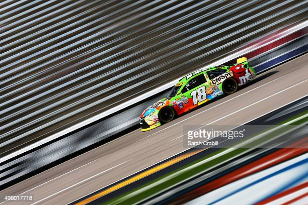 Kyle Busch driver of the MM's Crispy Toyota practices for the NASCAR Sprint Cup Series AAA Texas 500 at Texas Motor Speedway on November 6 2015 in...