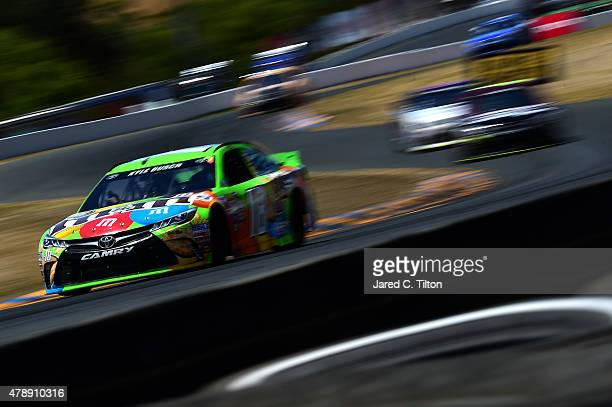 Kyle Busch driver of the MM's Crispy Toyota races during the NASCAR Sprint Cup Series Toyota/Save Mart 350 at Sonoma Raceway on June 28 2015 in...