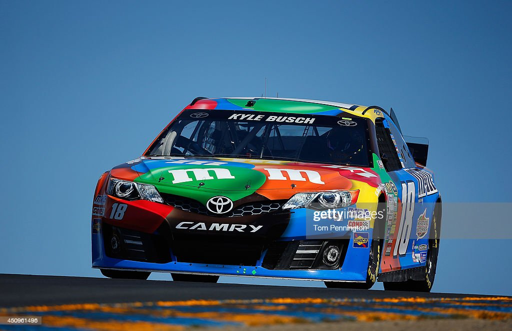 <a gi-track='captionPersonalityLinkClicked' href=/galleries/search?phrase=Kyle+Busch&family=editorial&specificpeople=211123 ng-click='$event.stopPropagation()'>Kyle Busch</a>, driver of the #18 M&M's Pretzel Toyota, practice for the NASCAR Sprint Cup Series Toyota/Save Mart 350 at Sonoma Raceway on June 20, 2014 in Sonoma, California.