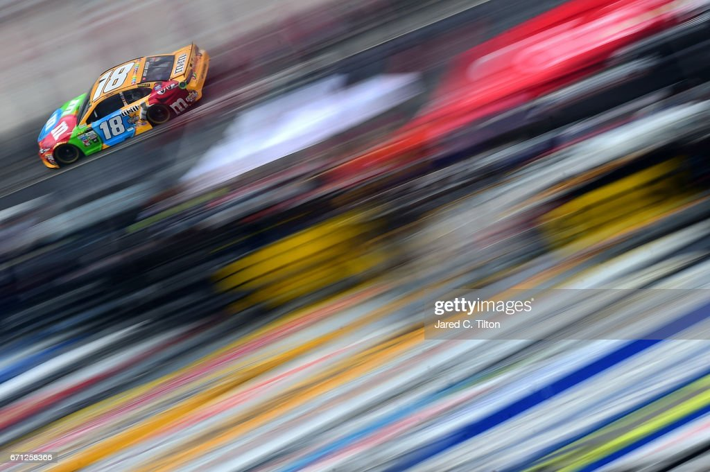 Kyle Busch, driver of the #18 M&M's Toyota, drives during practice for the Monster Energy NASCAR Cup Series Food City 500 at Bristol Motor Speedway on April 21, 2017 in Bristol, Tennessee.