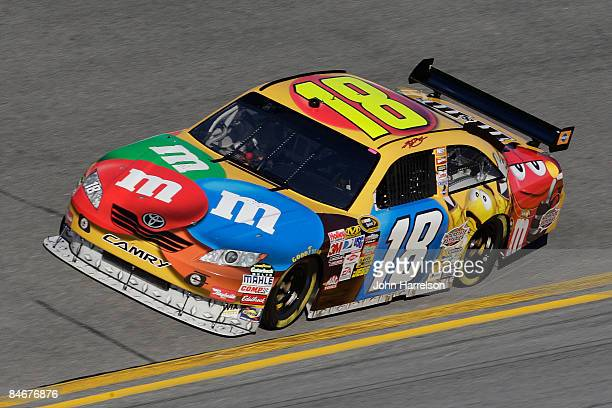 Kyle Busch driver of the MM's Toyota drives during practice for the Budweiser Shootout at Daytona International Speedway on February 6 2008 in...