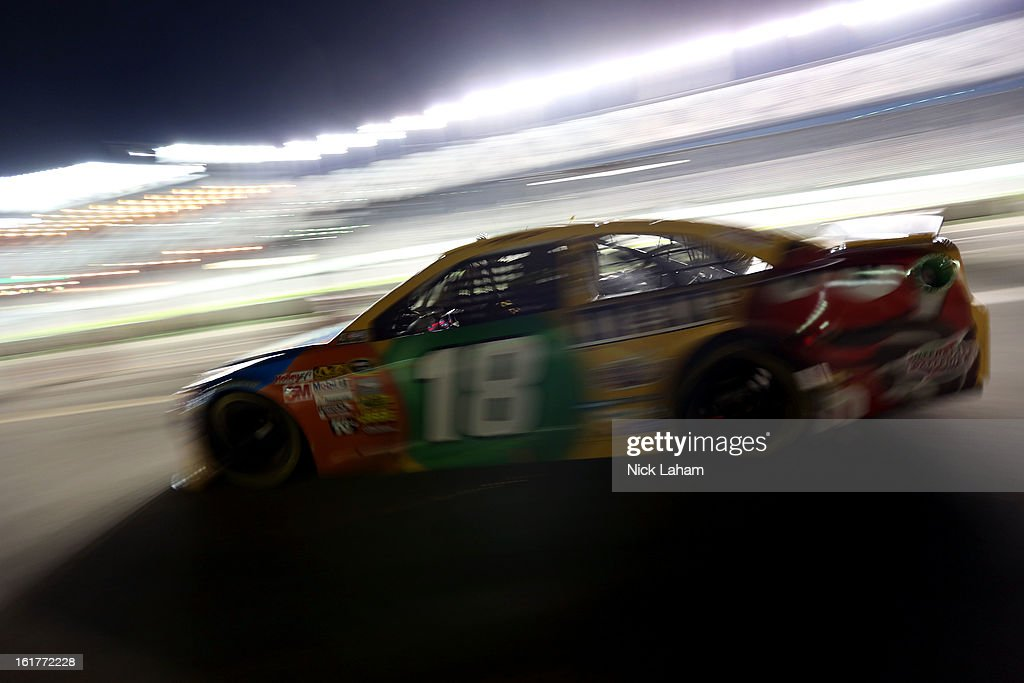 <a gi-track='captionPersonalityLinkClicked' href=/galleries/search?phrase=Kyle+Busch&family=editorial&specificpeople=211123 ng-click='$event.stopPropagation()'>Kyle Busch</a>, driver of the #18 M&M's Toyota, during practice for the NASCAR Sprint Cup Series Sprint Unlimited at Daytona International Speedway on February 15, 2013 in Daytona Beach, Florida.