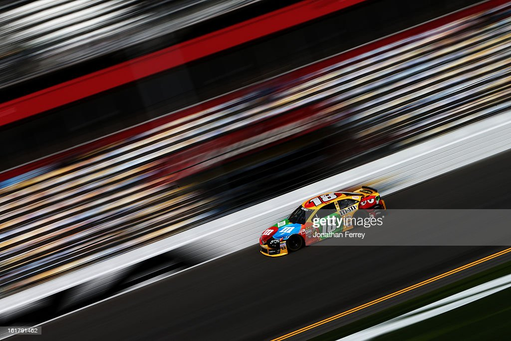 Kyle Busch, driver of the #18 M&M's Toyota, during practice for the NASCAR Sprint Cup Series Daytona 500 at Daytona International Speedway on February 16, 2013 in Daytona Beach, Florida