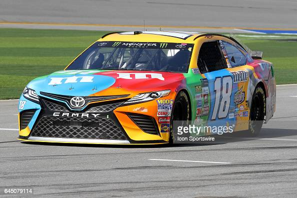 Kyle Busch driver of the MM's Toyota during practice for the NASCAR Monster Energy Cup Series Daytona 500 on February 24 at the Daytona International...