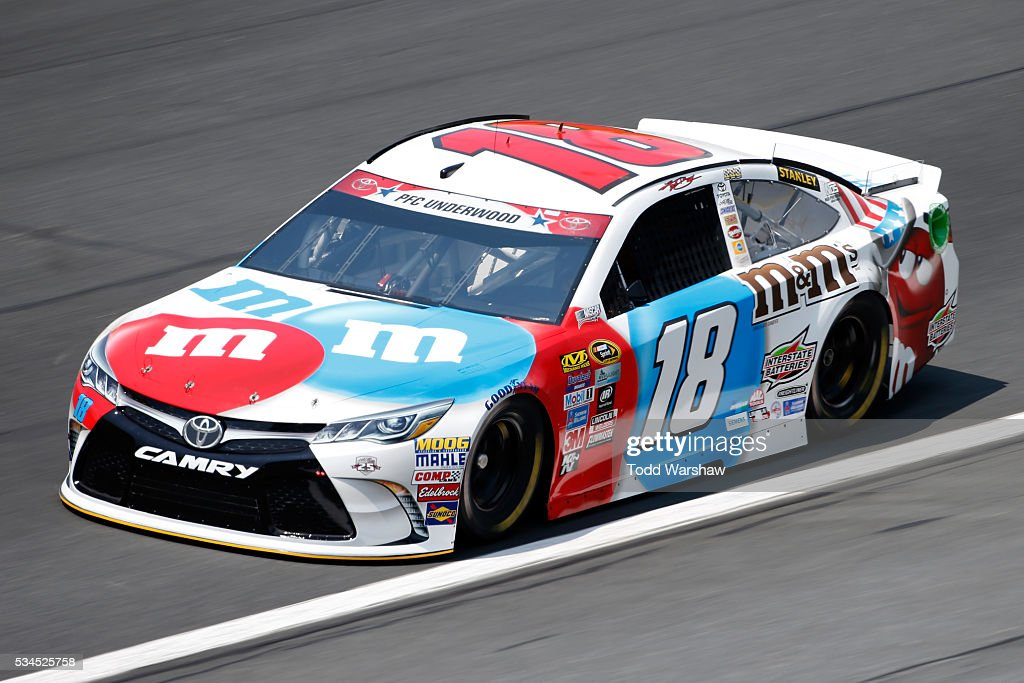 <a gi-track='captionPersonalityLinkClicked' href=/galleries/search?phrase=Kyle+Busch&family=editorial&specificpeople=211123 ng-click='$event.stopPropagation()'>Kyle Busch</a>, driver of the #18 M&M's Toyota, practices for the NASCAR Sprint Cup Series Coca-Cola 600 at Charlotte Motor Speedway on May 27, 2016 in Charlotte, North Carolina.