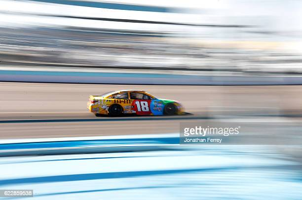 Kyle Busch driver of the MM's Toyota practices for the NASCAR Sprint Cup Series CanAm 500 at Phoenix International Raceway on November 12 2016 in...