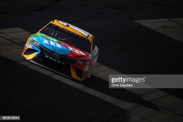 Kyle Busch driver of the MM's Toyota races during the Monster Energy NASCAR Cup Series Kobalt 400 at Las Vegas Motor Speedway on March 12 2017 in Las...