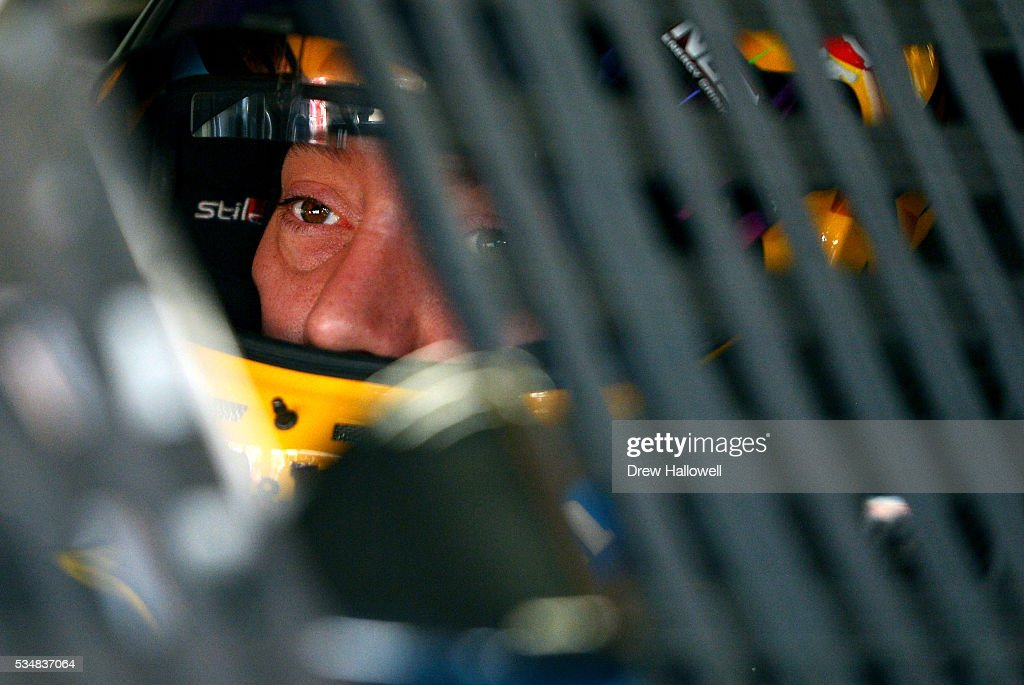 <a gi-track='captionPersonalityLinkClicked' href=/galleries/search?phrase=Kyle+Busch&family=editorial&specificpeople=211123 ng-click='$event.stopPropagation()'>Kyle Busch</a>, driver of the #18 M&M's Toyota, sits in his car during practice for the NASCAR Sprint Cup Series Coca-Cola 600 at Charlotte Motor Speedway on May 28, 2016 in Charlotte, North Carolina.