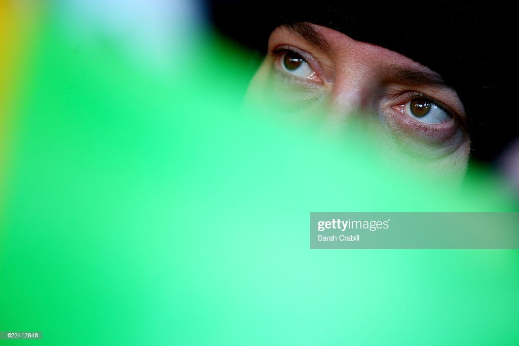 Kyle Busch, driver of the #18 M&M's Toyota, sits in his car during practice for the NASCAR Sprint Cup Series Can-Am 500 at Phoenix International Raceway on November 11, 2016 in Avondale, Arizona.