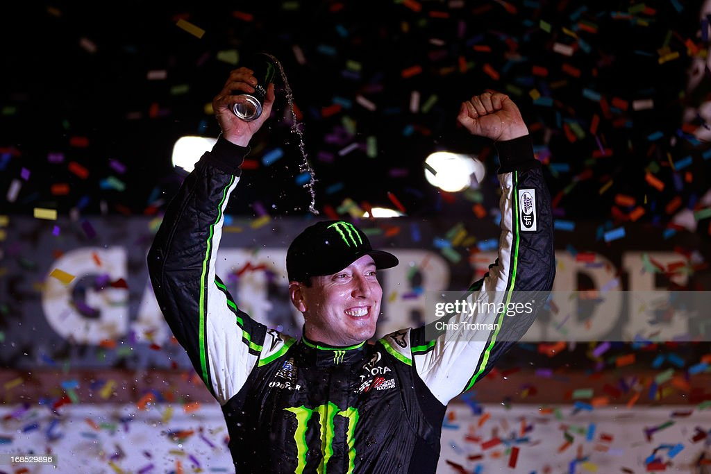 <a gi-track='captionPersonalityLinkClicked' href=/galleries/search?phrase=Kyle+Busch&family=editorial&specificpeople=211123 ng-click='$event.stopPropagation()'>Kyle Busch</a>, driver of the #54 Monster Energy Toyota, celebrates in victory lane after winning the NASCAR Nationwide Series VFW Sport Clips Help A Hero 200 at Darlington Raceway on May 10, 2013 in Darlington, South Carolina.