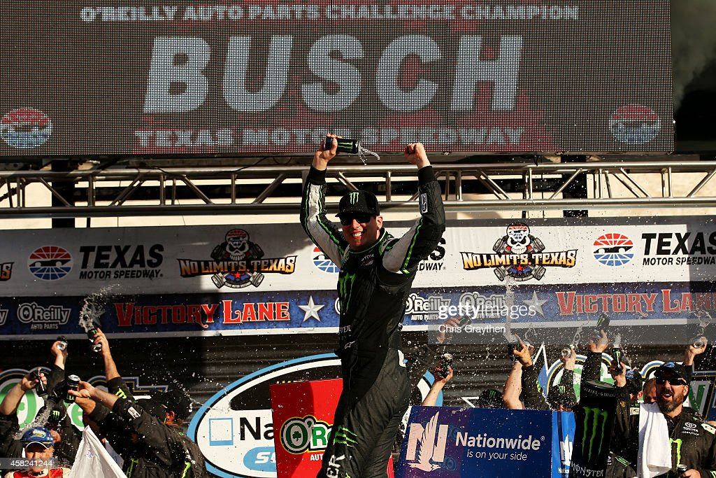 Kyle Busch, driver of the #54 Monster Energy Toyota, celebrates in Victory Lane after winning the NASCAR Nationwide Series O'Reilly Auto Parts Challenge at Texas Motor Speedway on November 1, 2014 in Fort Worth, Texas.