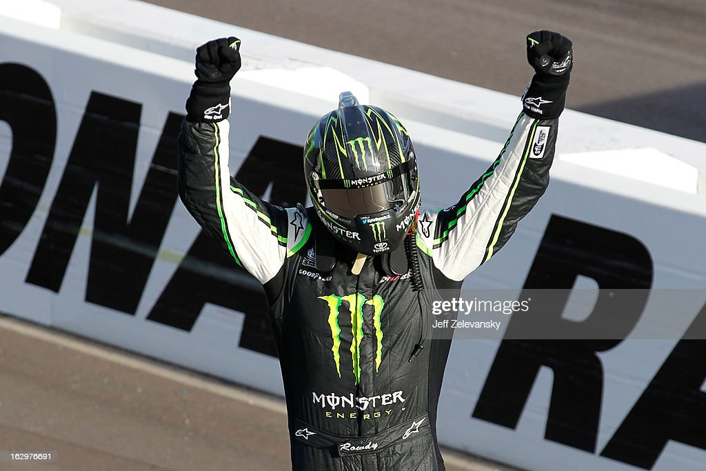 <a gi-track='captionPersonalityLinkClicked' href=/galleries/search?phrase=Kyle+Busch&family=editorial&specificpeople=211123 ng-click='$event.stopPropagation()'>Kyle Busch</a>, driver of the #54 Monster Toyota, celebrates after winning the NASCAR Nationwide Series Dollar General 200 fueled by AmeriGas at Phoenix International Raceway on March 2, 2013 in Avondale, Arizona.