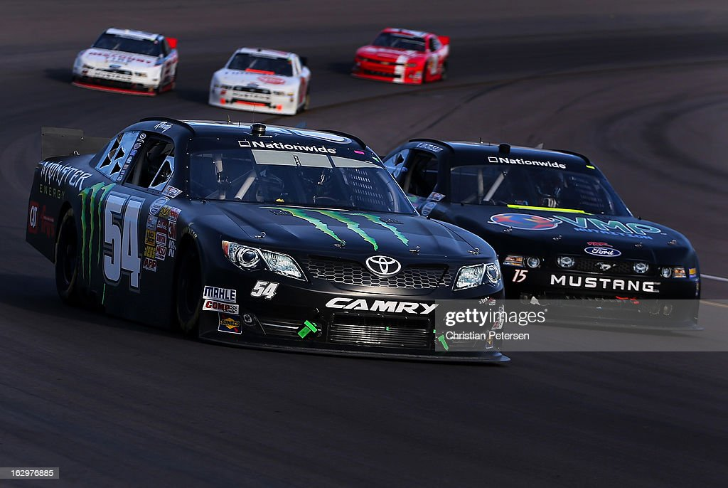 <a gi-track='captionPersonalityLinkClicked' href=/galleries/search?phrase=Kyle+Busch&family=editorial&specificpeople=211123 ng-click='$event.stopPropagation()'>Kyle Busch</a>, driver of the #54 Monster Toyota, drives during the NASCAR Nationwide Series Dollar General 200 fueled by AmeriGas at Phoenix International Raceway on March 2, 2013 in Avondale, Arizona.