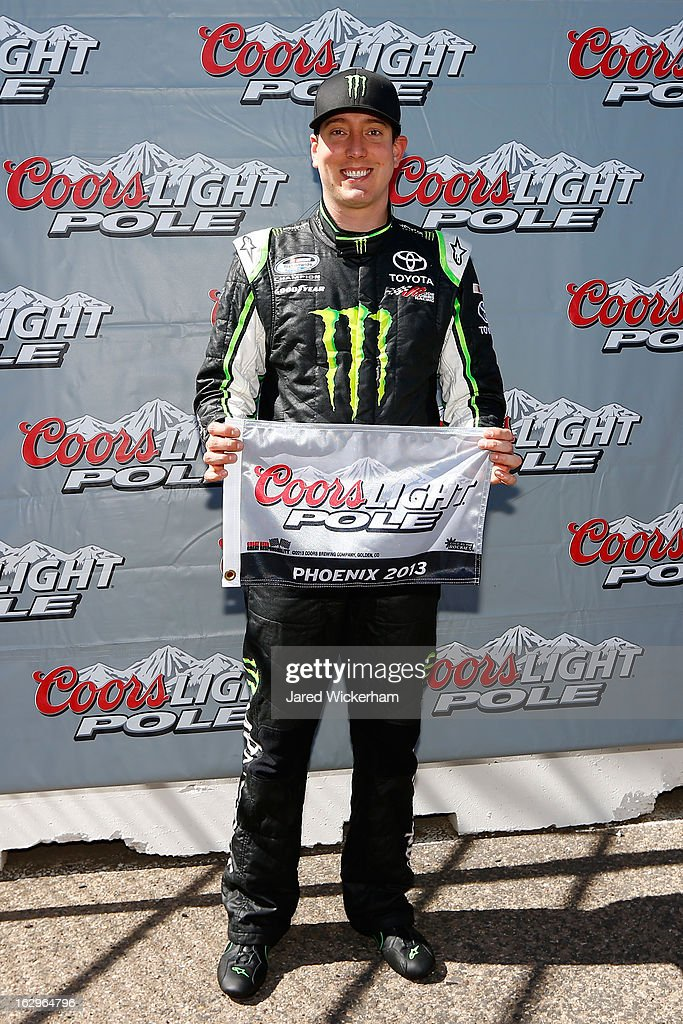 <a gi-track='captionPersonalityLinkClicked' href=/galleries/search?phrase=Kyle+Busch&family=editorial&specificpeople=211123 ng-click='$event.stopPropagation()'>Kyle Busch</a>, driver of the #54 Monster Toyota, poses after winning the pole during qualifying for the NASCAR Nationwide Series Dollar General 200 fueled by AmeriGas at Phoenix International Raceway on March 2, 2013 in Avondale, Arizona.