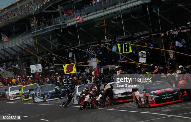 Kyle Busch driver of the NOS Energy Drink Rowdy Toyota pits during the NASCAR XFINITY Series Lilly Diabetes 250 at Indianapolis Motorspeedway on July...