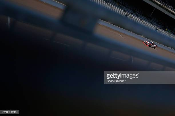 Kyle Busch driver of the NOS Energy Drink Rowdy Toyota practices for the NASCAR XFINITY Series Lilly Diabetes 250 at Indianapolis Motorspeedway on...
