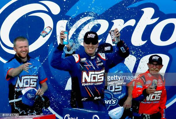 Kyle Busch driver of the NOS Energy Drink Toyota celebrates in Victory Lane after winning the NASCAR XFINITY Series Overton's 200 at New Hampshire...