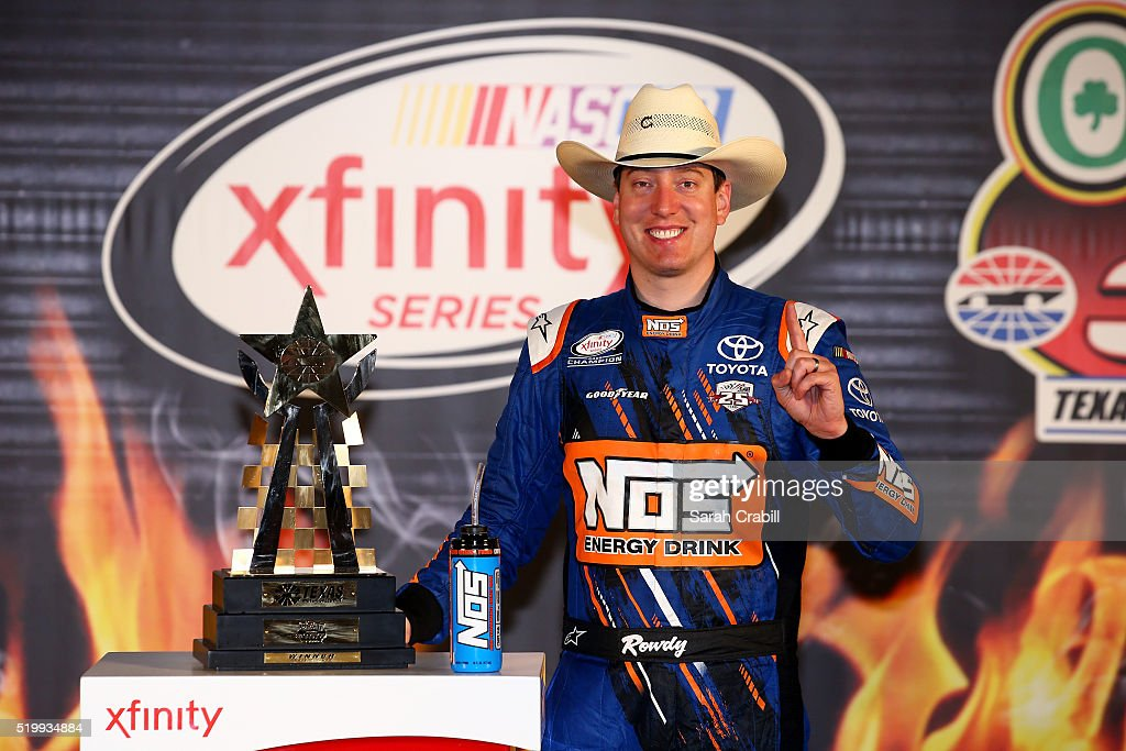 <a gi-track='captionPersonalityLinkClicked' href=/galleries/search?phrase=Kyle+Busch&family=editorial&specificpeople=211123 ng-click='$event.stopPropagation()'>Kyle Busch</a>, driver of the #18 NOS Energy Drink Toyota, poses in Victory Lane after winning the NASCAR XFINITY Series O'Reilly Auto Parts 300 at Texas Motor Speedway on April 8, 2016 in Fort Worth, Texas.