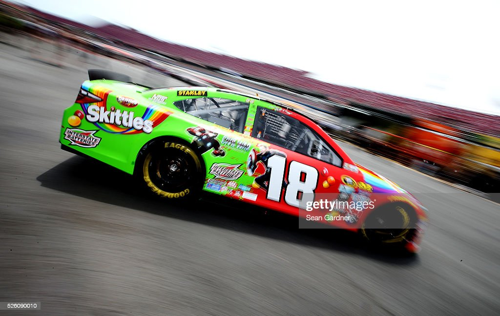 <a gi-track='captionPersonalityLinkClicked' href=/galleries/search?phrase=Kyle+Busch&family=editorial&specificpeople=211123 ng-click='$event.stopPropagation()'>Kyle Busch</a>, driver of the #18 Skittles Marvel Toyota, drives through the garage area during practice for the NASCAR Sprint Cup Series GEICO 500 at Talladega Superspeedway on April 29, 2016 in Talladega, Alabama.