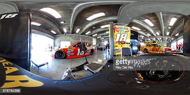 Kyle Busch driver of the Skittles Toyota prepares to drive during practice for the NASCAR Sprint Cup Series Crown Royal presents the Combat Wounded...