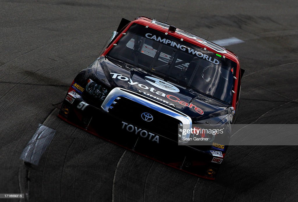 Kyle Busch, driver of the #51 ToyotaCare Toyota, practices for the NASCAR Camping World Truck Series UNOH 225 at Kentucky Speedway on June 27, 2013 in Sparta, Kentucky.
