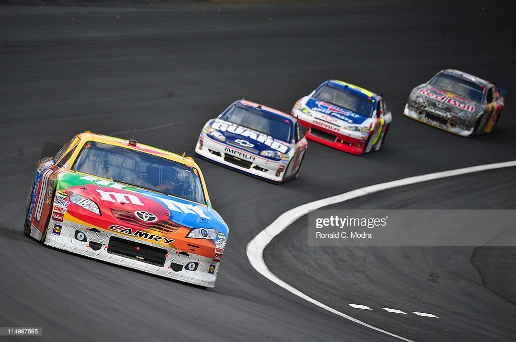 Kyle Busch drives the MM's Toyota during the NASCAR Sprint Cup Series CocaCola 600 at Charlotte Motor Speedway on May 29 2011 in Concord North...