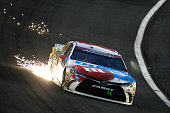 Kyle Busch drives the MM's Toyota during the NASCAR Sprint Cup Series CocaCola 600 at Charlotte Motor Speedway on May 29 2016 in Charlotte North...