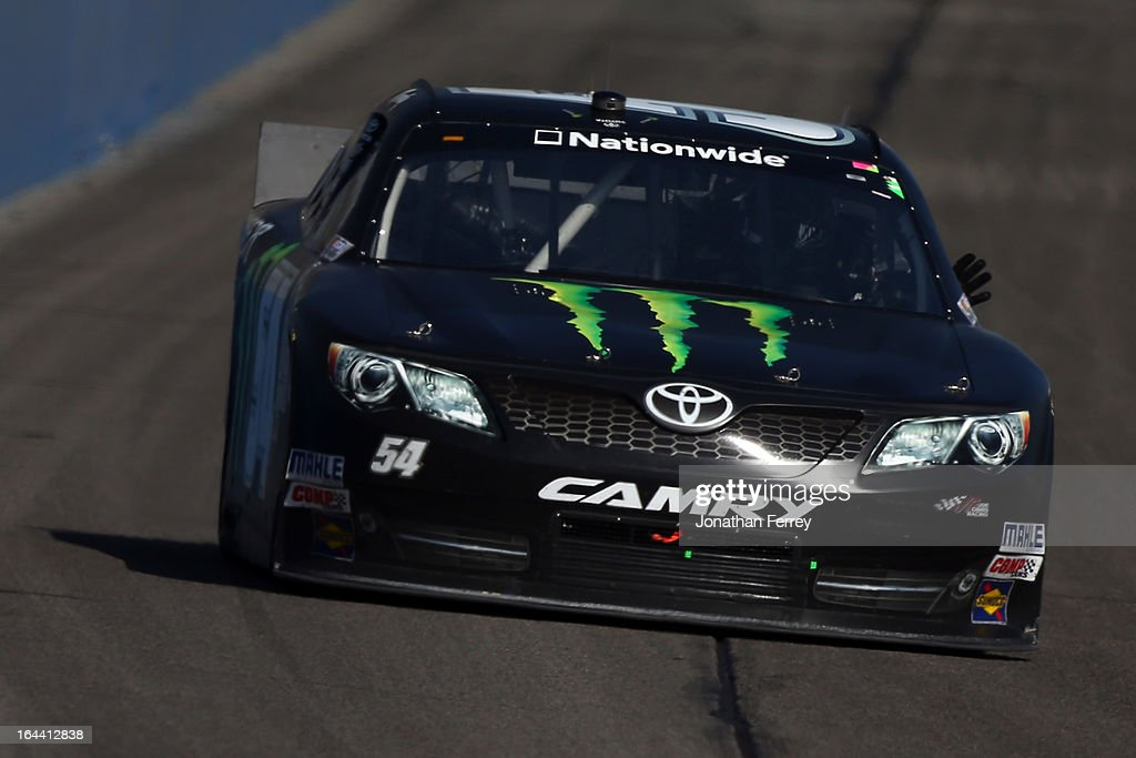 <a gi-track='captionPersonalityLinkClicked' href=/galleries/search?phrase=Kyle+Busch&family=editorial&specificpeople=211123 ng-click='$event.stopPropagation()'>Kyle Busch</a> drives the #54 Monster Energy Toyota during the NASCAR Nationwide Series Royal Purple 300 at Auto Club Speedway on March 23, 2013 in Fontana, California.