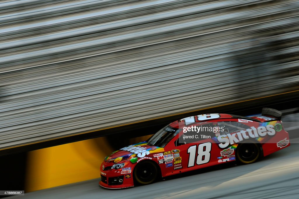 Kyle Busch drives the #18 Skittles Toyota during practice for the NASCAR Sprint Cup Series Food City 500 at Bristol Motor Speedway on March 15, 2014 in Bristol, Tennessee.