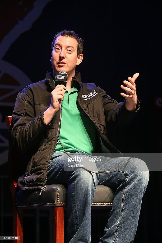 <a gi-track='captionPersonalityLinkClicked' href=/galleries/search?phrase=Kyle+Busch&family=editorial&specificpeople=211123 ng-click='$event.stopPropagation()'>Kyle Busch</a> speaks during the unveiling of 'Big Hoss' the largest HD video board in the world at Texas Motor Speedway on March 19, 2014 in Fort Worth, Texas.