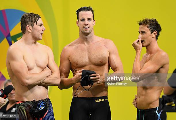 Kyle Chalmers James Magnussen and Cameron McEvoy of Australia catch their breath after competing in the 4 x 100 metre Freestyle Relay during the 2016...