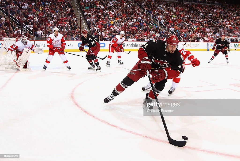 <a gi-track='captionPersonalityLinkClicked' href=/galleries/search?phrase=Kyle+Chipchura&family=editorial&specificpeople=879784 ng-click='$event.stopPropagation()'>Kyle Chipchura</a> #24 of the Phoenix Coyotes attempts to control the puck during the third period of the NHL game against the Detroit Red Wings at Jobing.com Arena on March 25, 2013 in Glendale, Arizona. The Red Wings defeated the Coyotes 3-2.