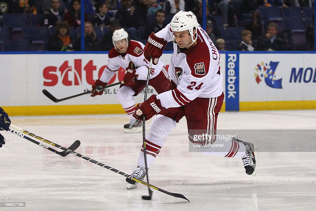 Kyle Chipchura #24 of the Phoenix Coyotes takes a shot on goal against the St. Louis Blues during the second period at the Scottrade Center on April 18, 2013 in St. Louis, Missouri.