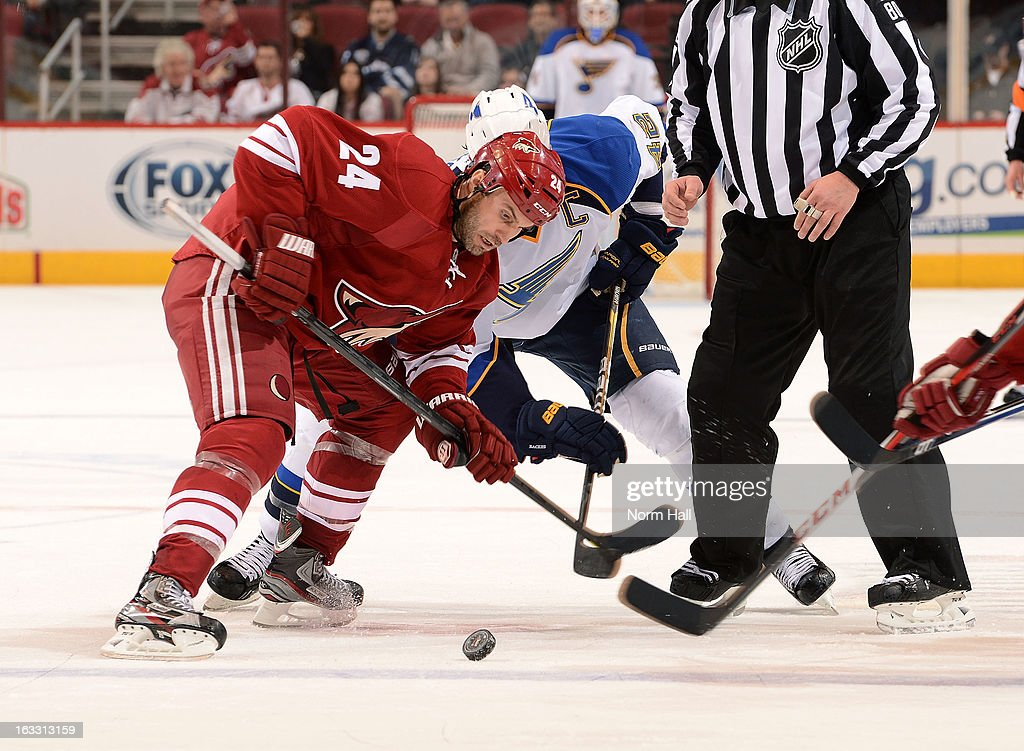 <a gi-track='captionPersonalityLinkClicked' href=/galleries/search?phrase=Kyle+Chipchura&family=editorial&specificpeople=879784 ng-click='$event.stopPropagation()'>Kyle Chipchura</a> #24 of the Phoenix Coyotes wins a face off against <a gi-track='captionPersonalityLinkClicked' href=/galleries/search?phrase=David+Backes&family=editorial&specificpeople=2538492 ng-click='$event.stopPropagation()'>David Backes</a> #42 of the St Louis Blues during the third period at Jobing.com Arena on March 7, 2013 in Glendale, Arizona.