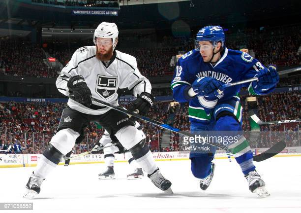 Kyle Clifford of the Los Angeles Kings and Brock Boeser of the Vancouver Canucks skate up ice during their NHL game at Rogers Arena March 31 2017 in...