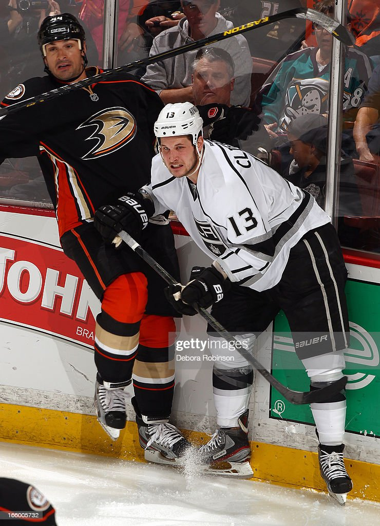 <a gi-track='captionPersonalityLinkClicked' href=/galleries/search?phrase=Kyle+Clifford&family=editorial&specificpeople=4640225 ng-click='$event.stopPropagation()'>Kyle Clifford</a> #13 of the Los Angeles Kings battles for position against <a gi-track='captionPersonalityLinkClicked' href=/galleries/search?phrase=Sheldon+Souray&family=editorial&specificpeople=203131 ng-click='$event.stopPropagation()'>Sheldon Souray</a> #44 of the Los Angeles Kings on April 7, 2013 at Honda Center in Anaheim, California.